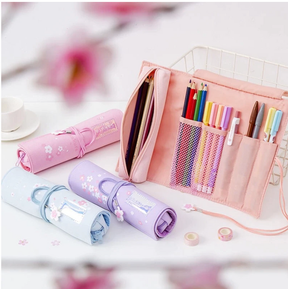 Cherry Blossom Roll up Pencil Case