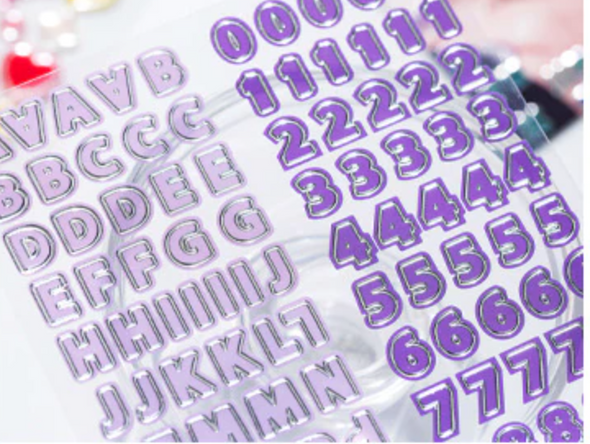 Metallic Outline Letters and Numbers