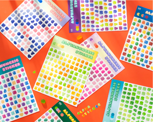 Candy Color AlphaNumeric Stickers