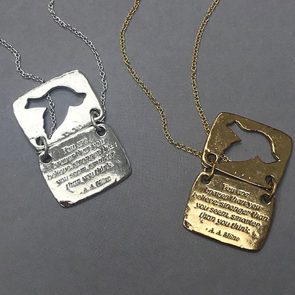 Love Note Dove Shaped Necklace in Silver and Gold