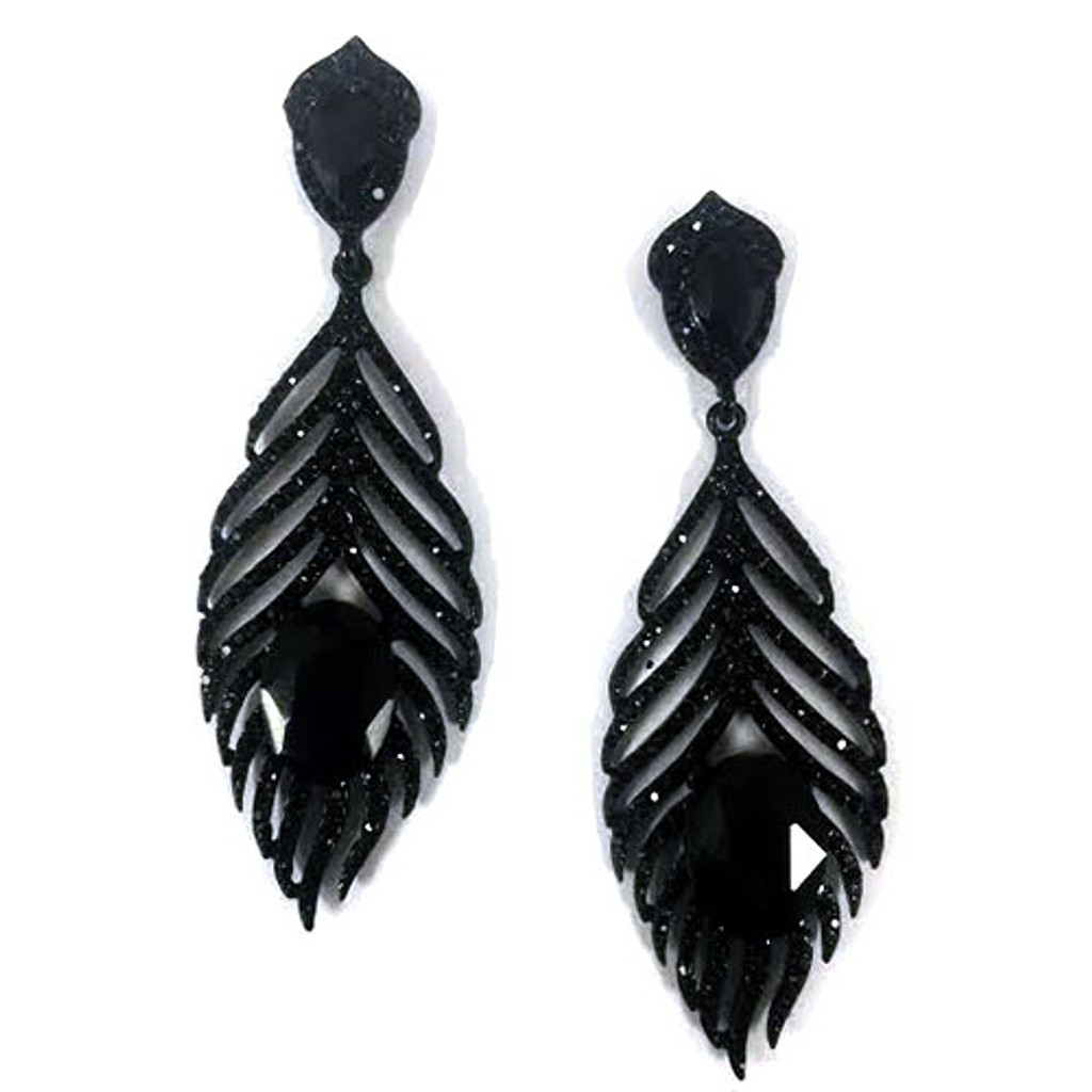 Jet Black Crystal Feather Design