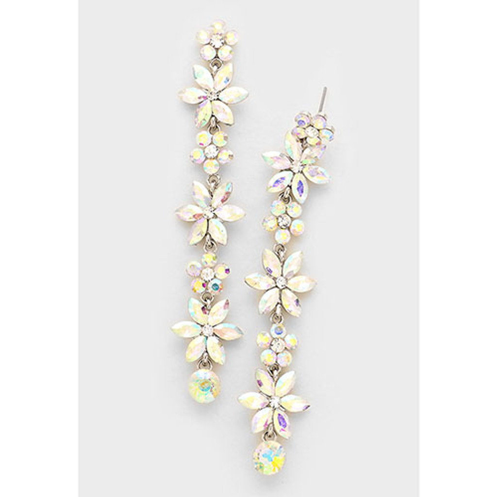 Crystal AB Flower Shoulder Dusting Earring
