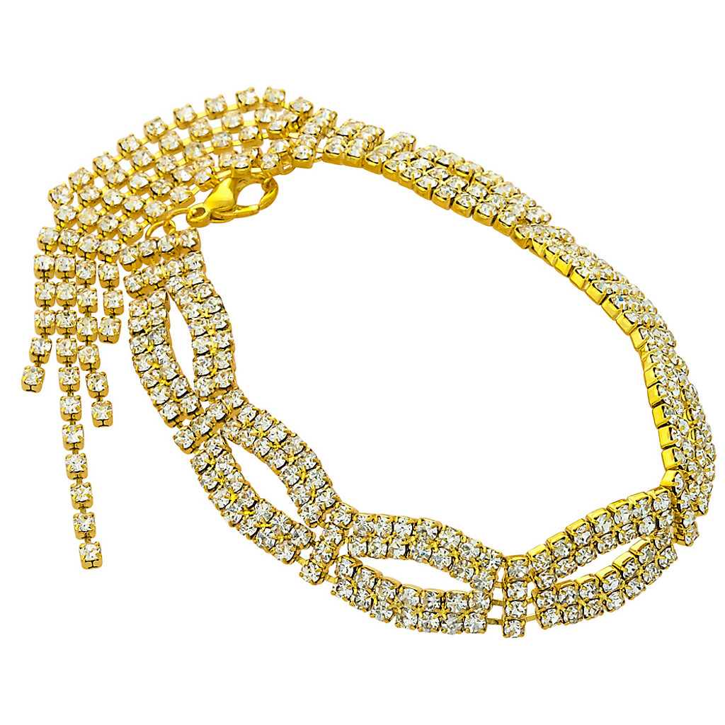 Open Oval Crystal Bracelet with Fringe Gold
