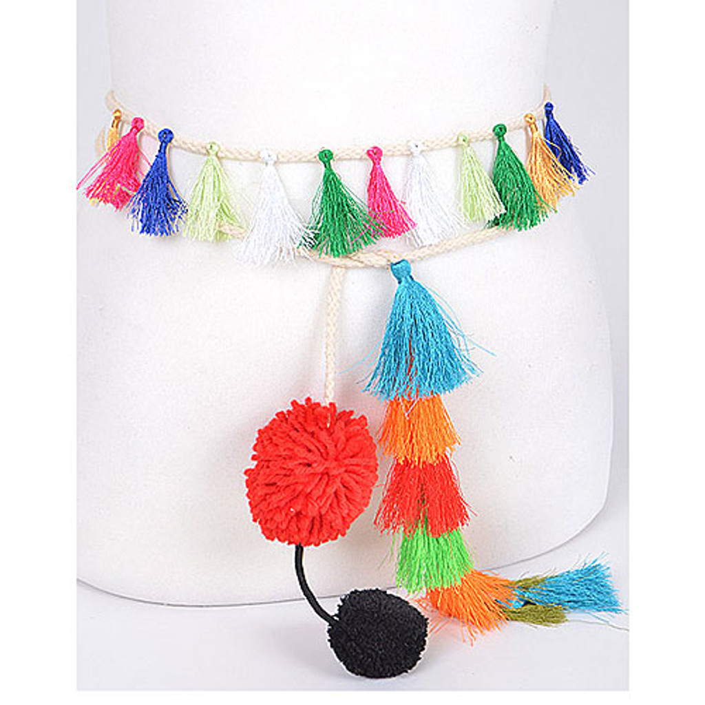 Boho Tassel and Pastel Pom Pom Cord Belt