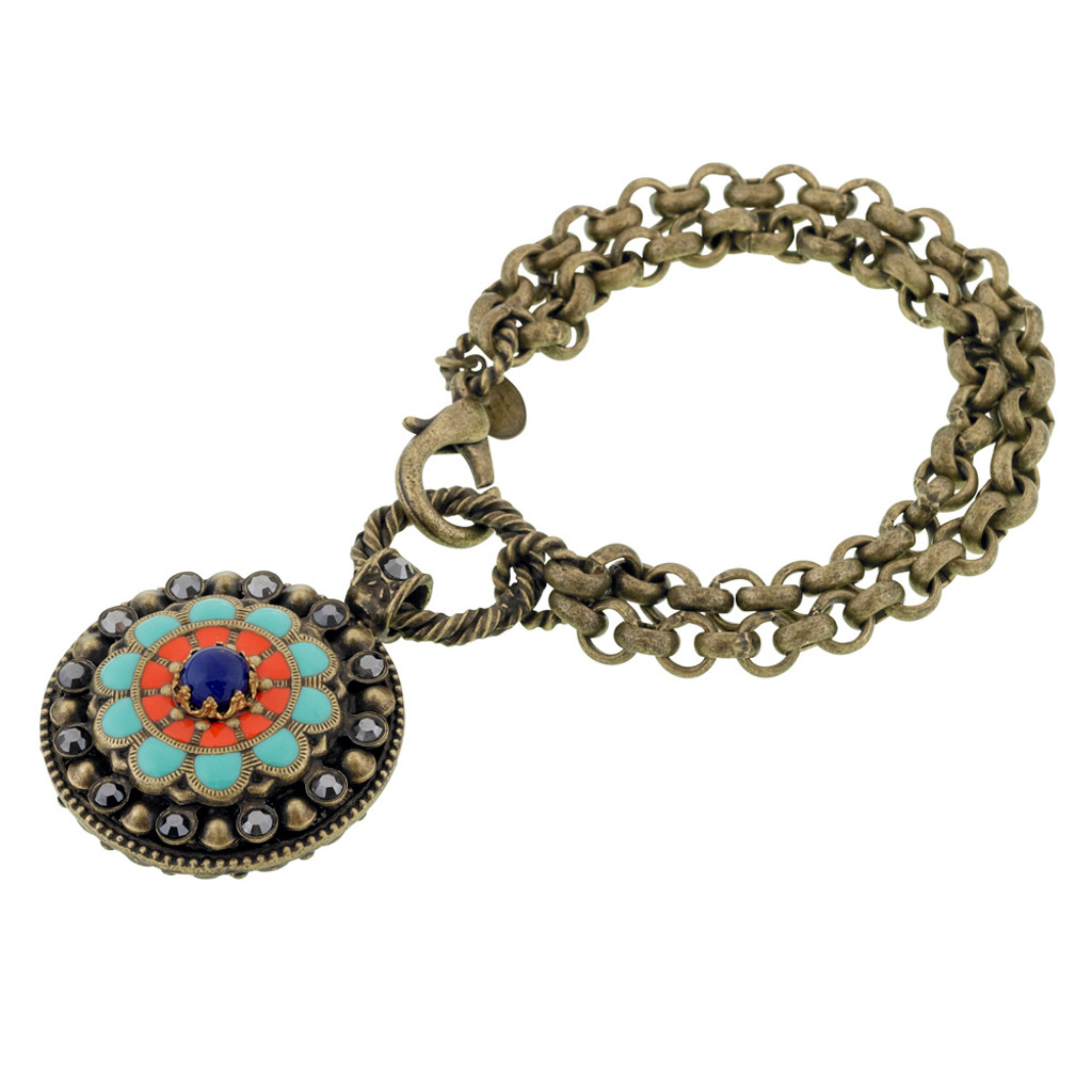 Enamel Southwest Flower Medallion Bracelet