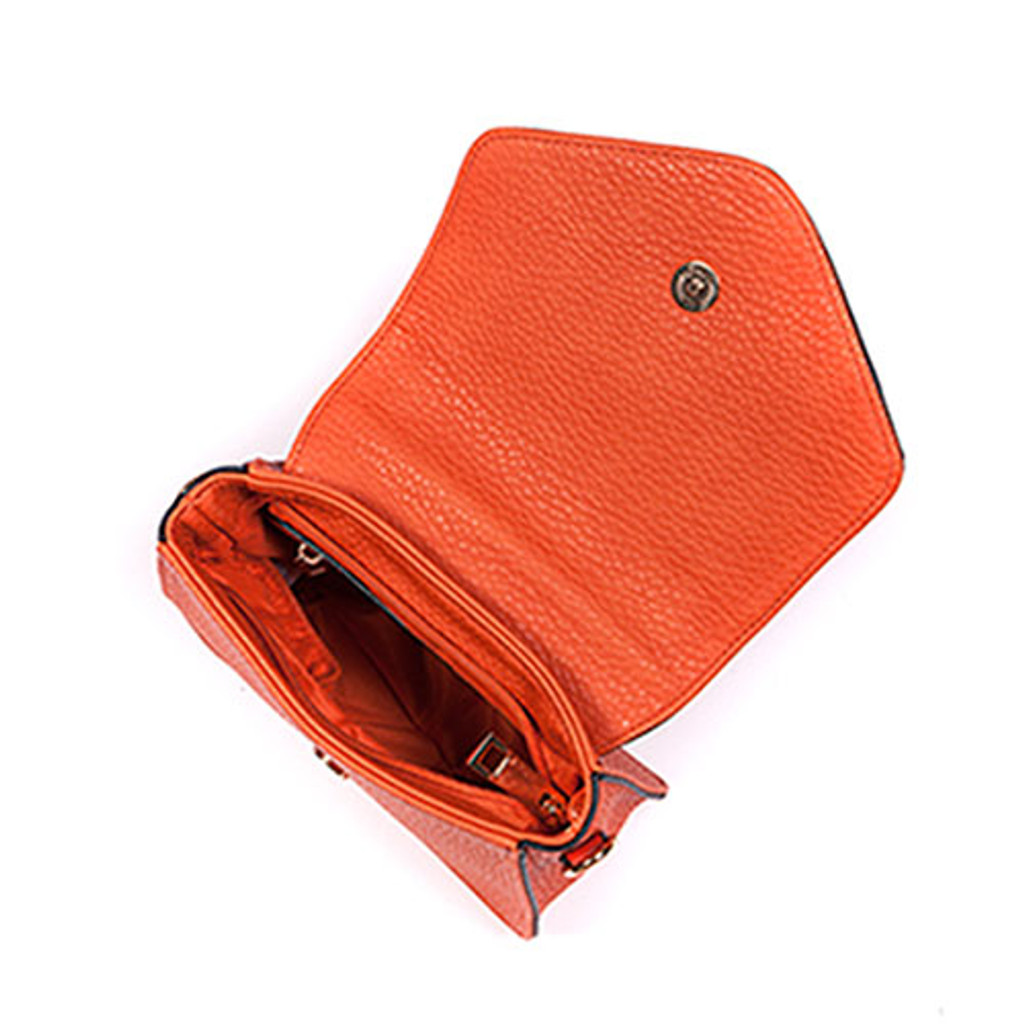 Sondra Roberts Orange Perforated Nappa Crossbody