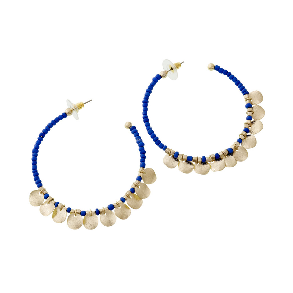Boho Chic Blue Beaded Hoops