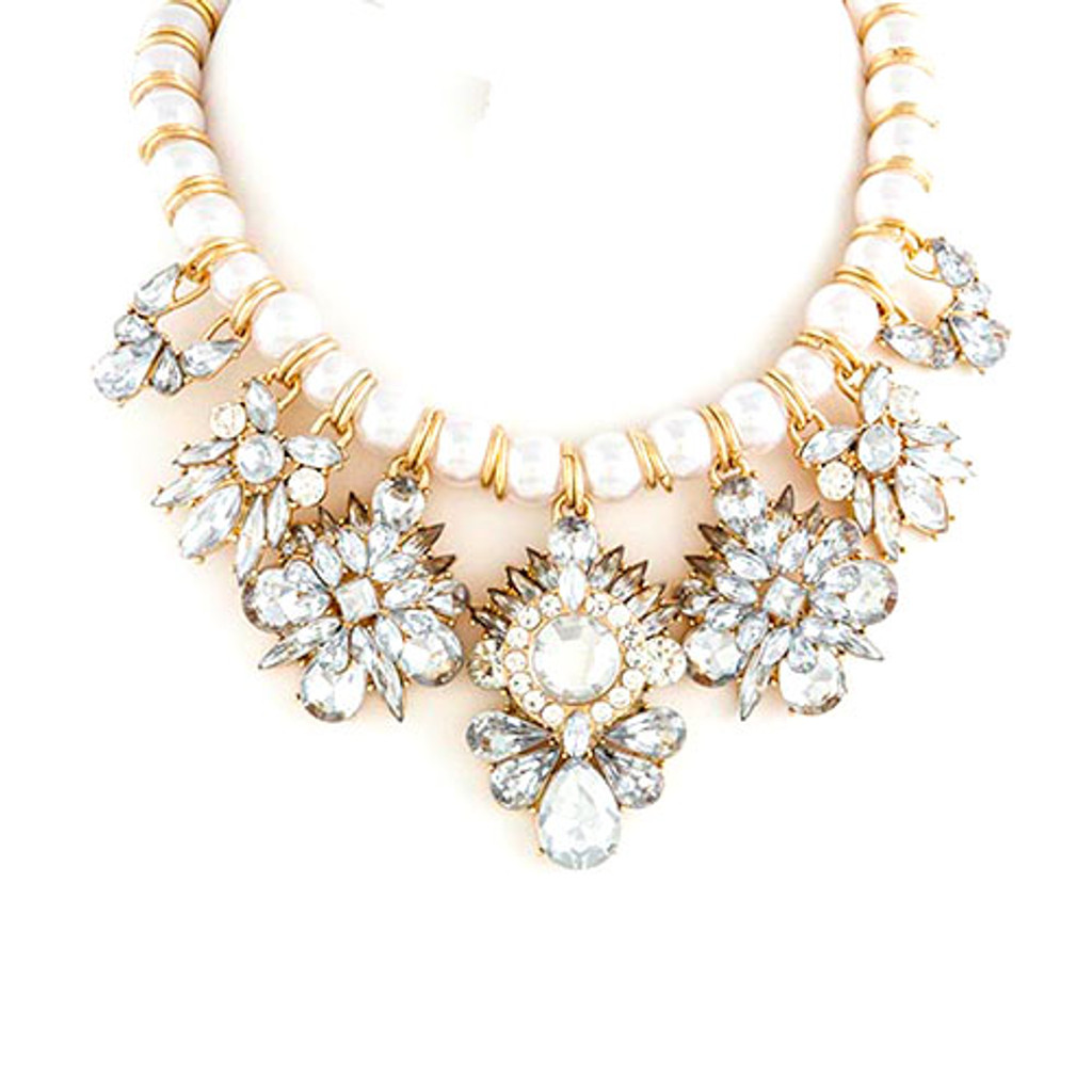 Crystal and Pearl Dramatic Statement Necklace