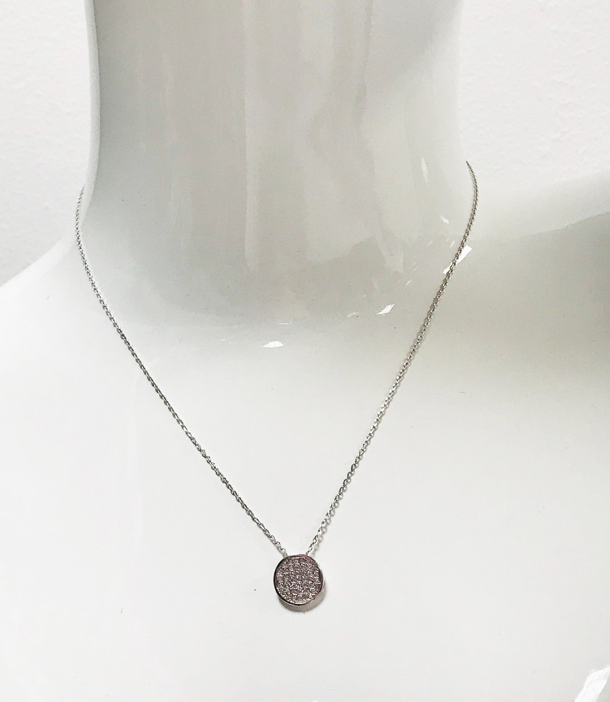 Pave Disk Necklace Silver