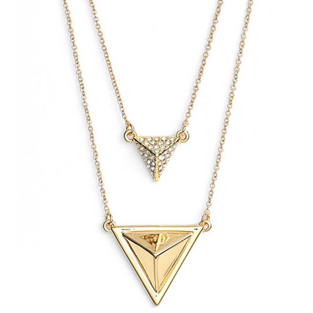 House of Harlow Double Layered Pyramid Necklace in Gold