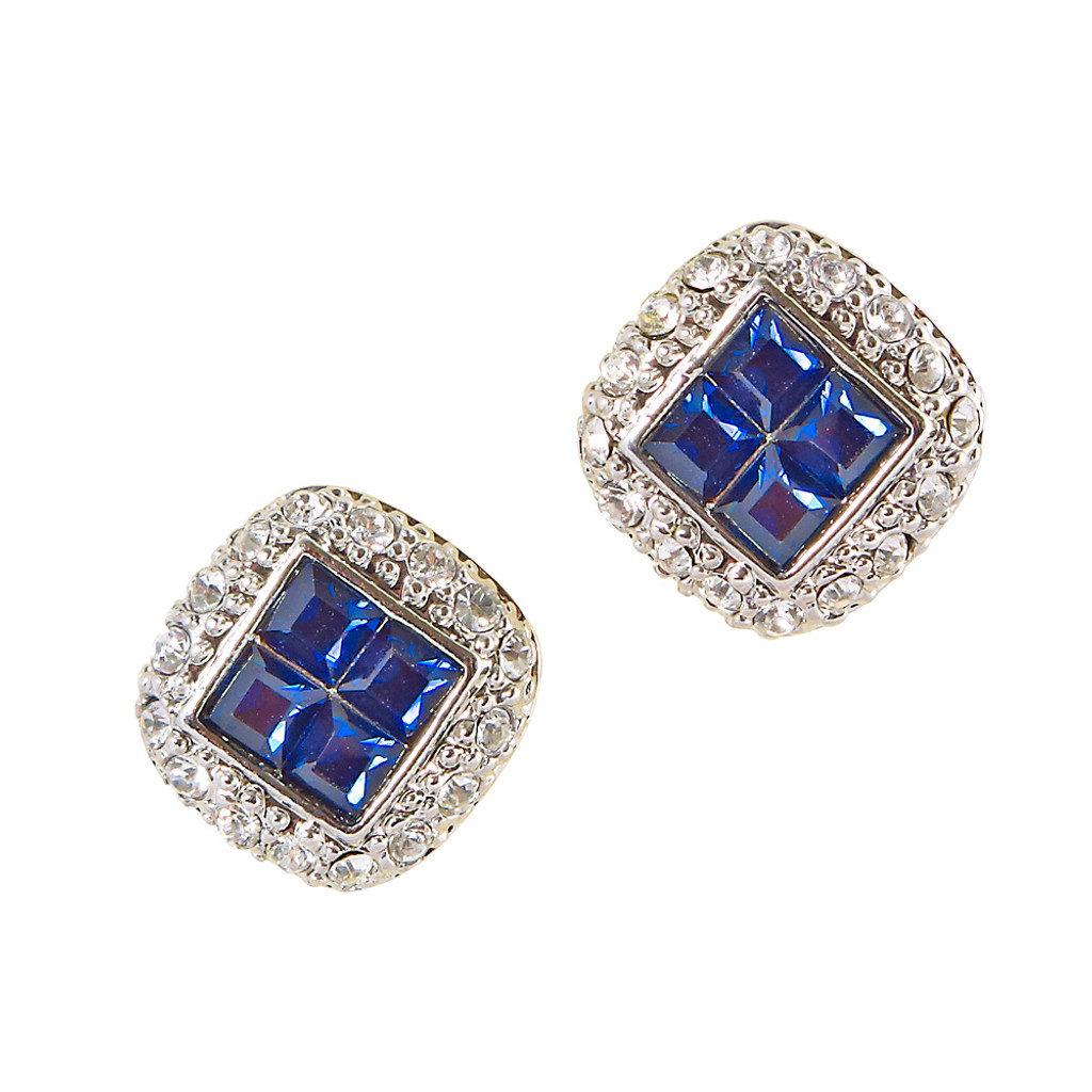 Four Sapphire Post Earrings