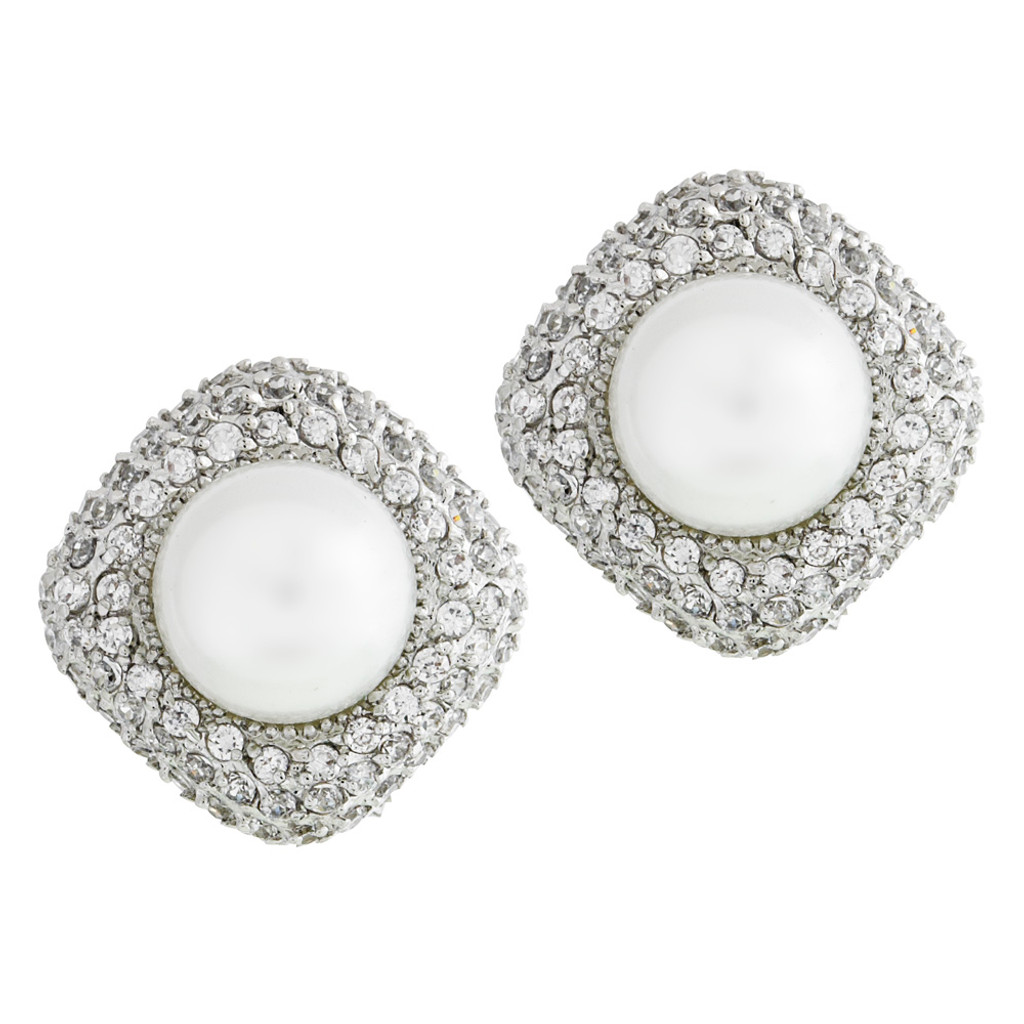 Pave Diamond Shape with Pearl Center Button Earring