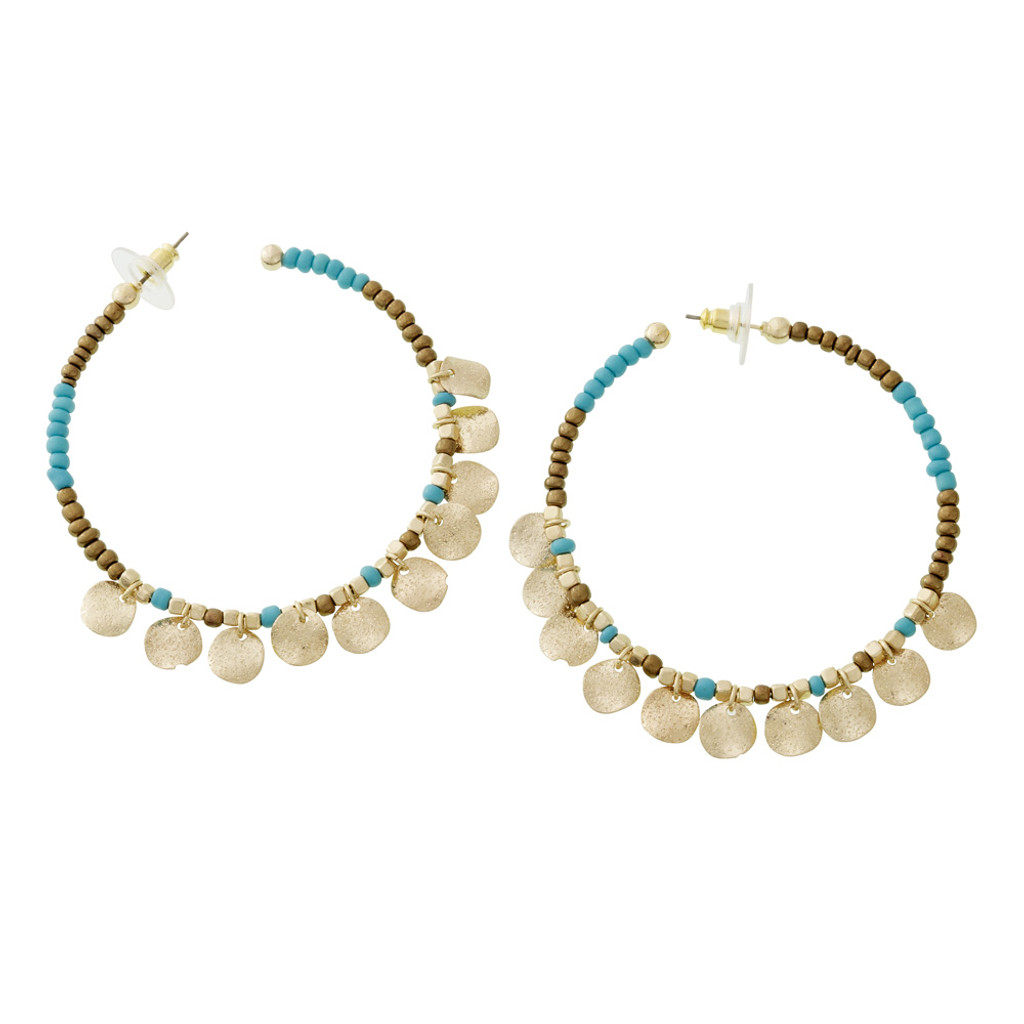 Boho Chic Turquiose Beaded Hoops