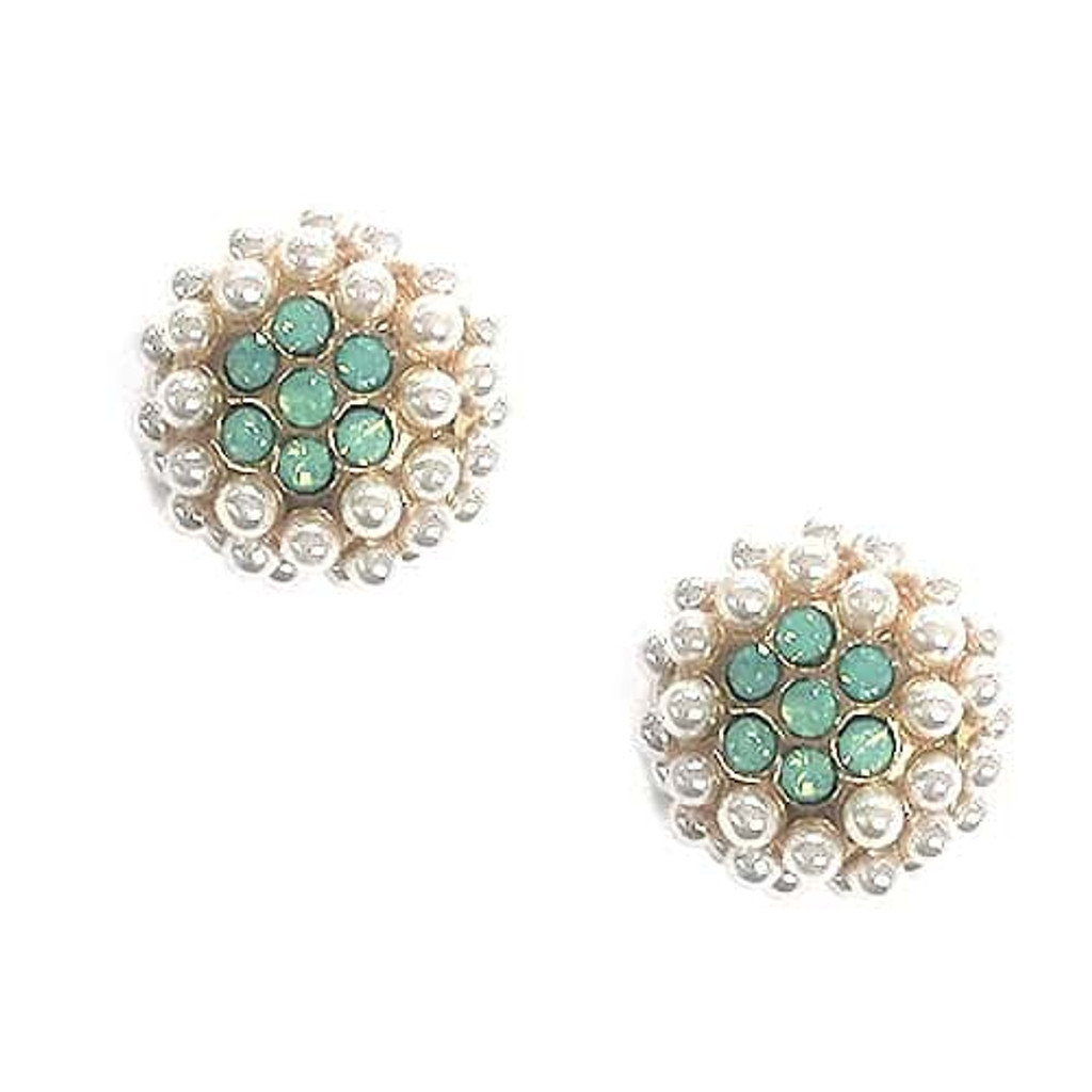 Seed Pearl Cluster Dome with Mint Opal Crystal Flower Earring