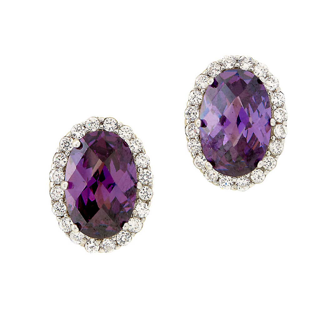 Faceted Amethyst Crystal Oval Earring