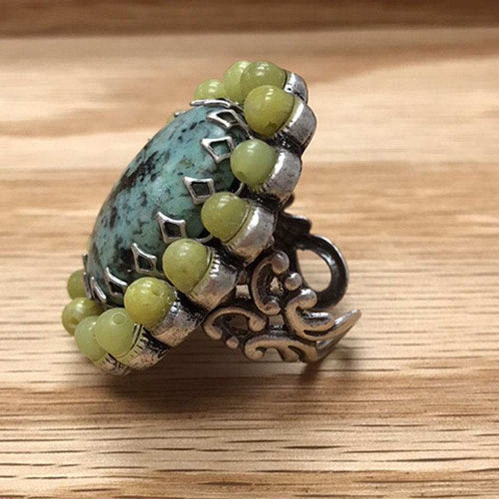 Turquoise Oval with Olive Ring