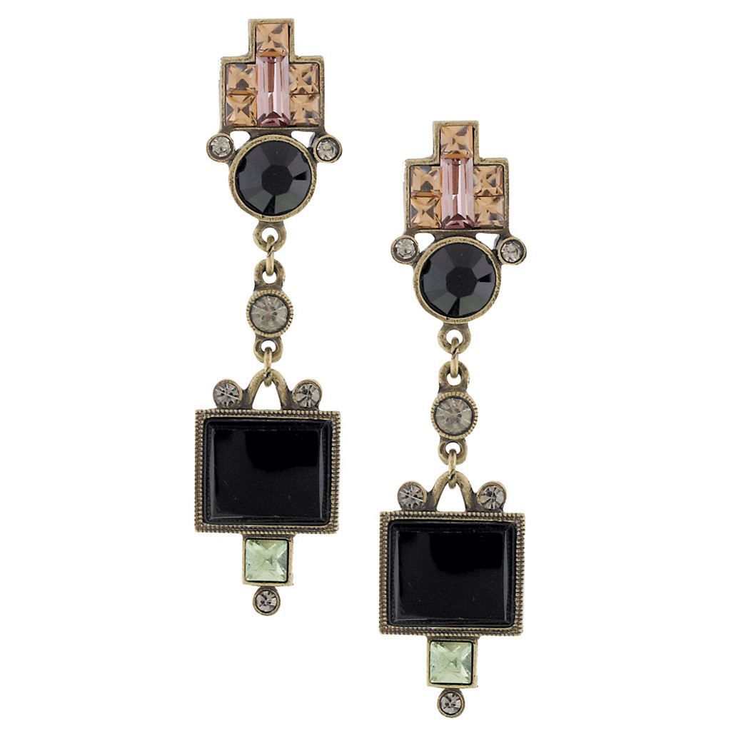 Deco Designed Colored Crystal Dangle