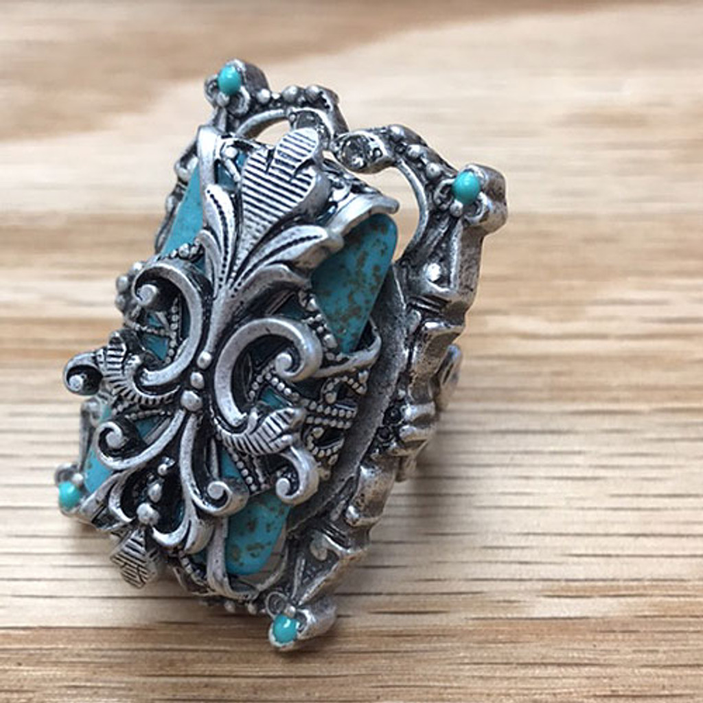 Turquoise In a Vintage Cage Ring