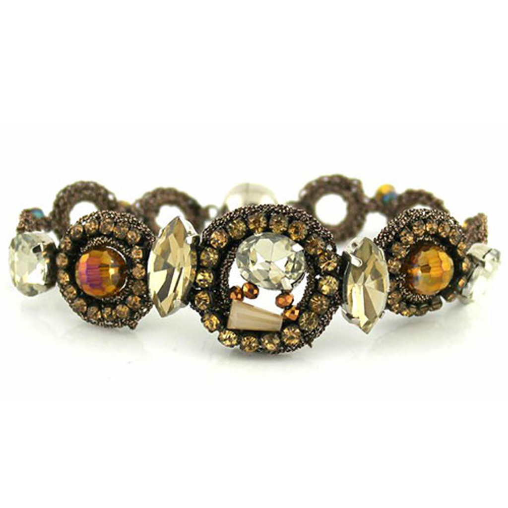 Bronze Crochet, Crystals and Beads Bracelet