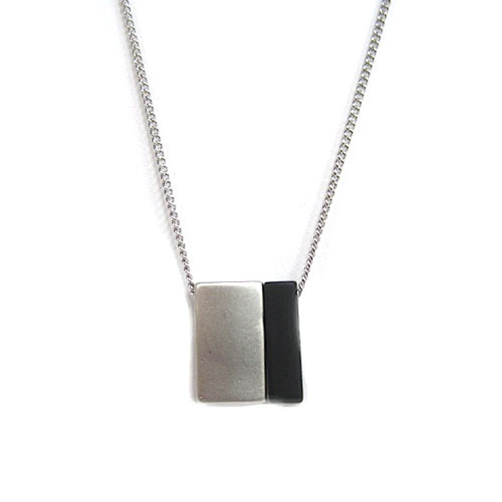 Petite Blocks Necklace in Silver