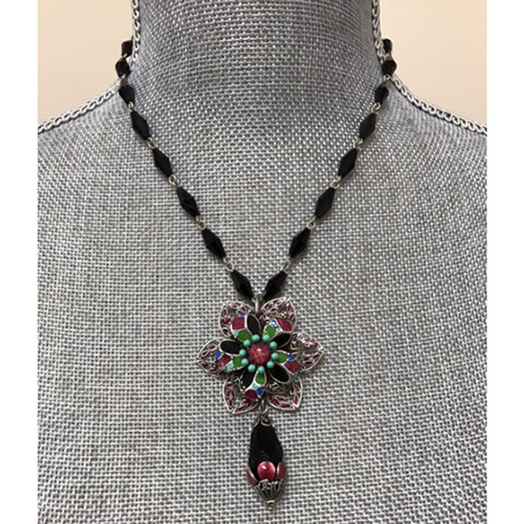 Layered Filigree Flower Necklace