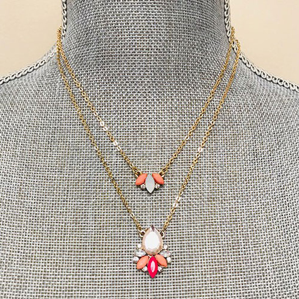Coral Petals Double Strand Necklace