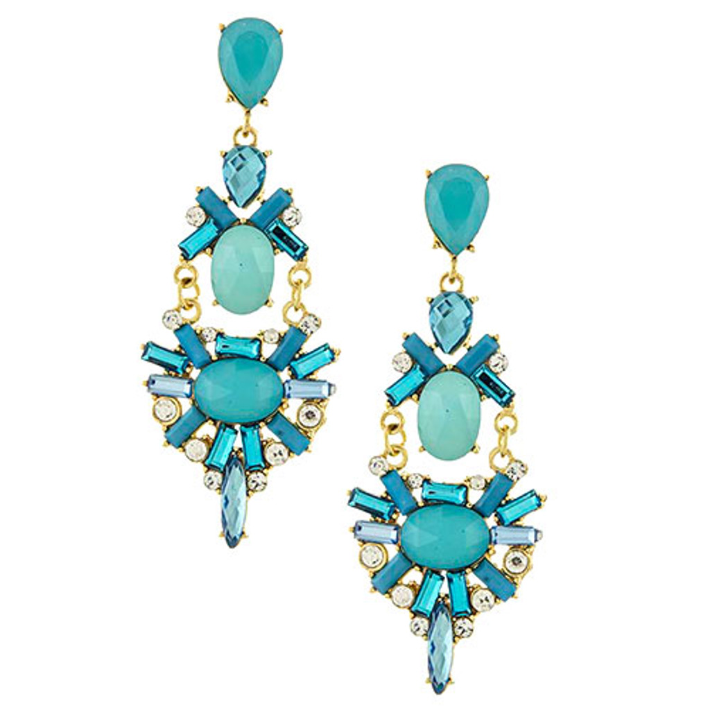 Elaborate Motif Statement Earrings in Turquoise