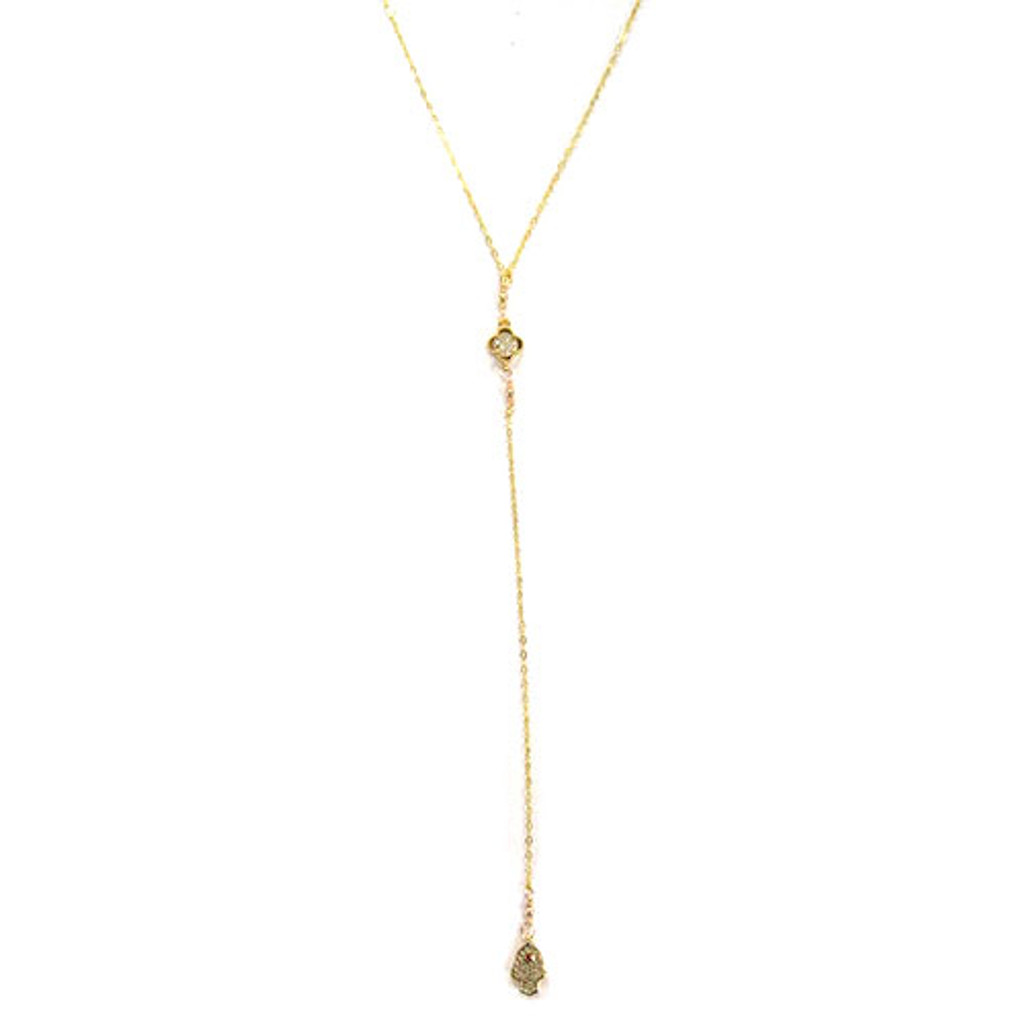 Charlene K Hamsa and Clover Pave Charm Y- Necklace