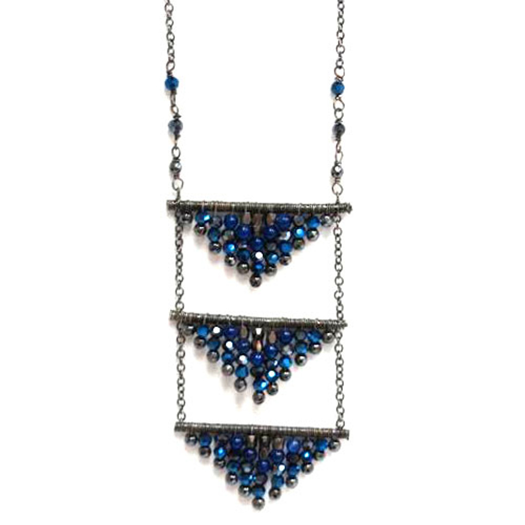 Triple Beaded Triangle Necklace