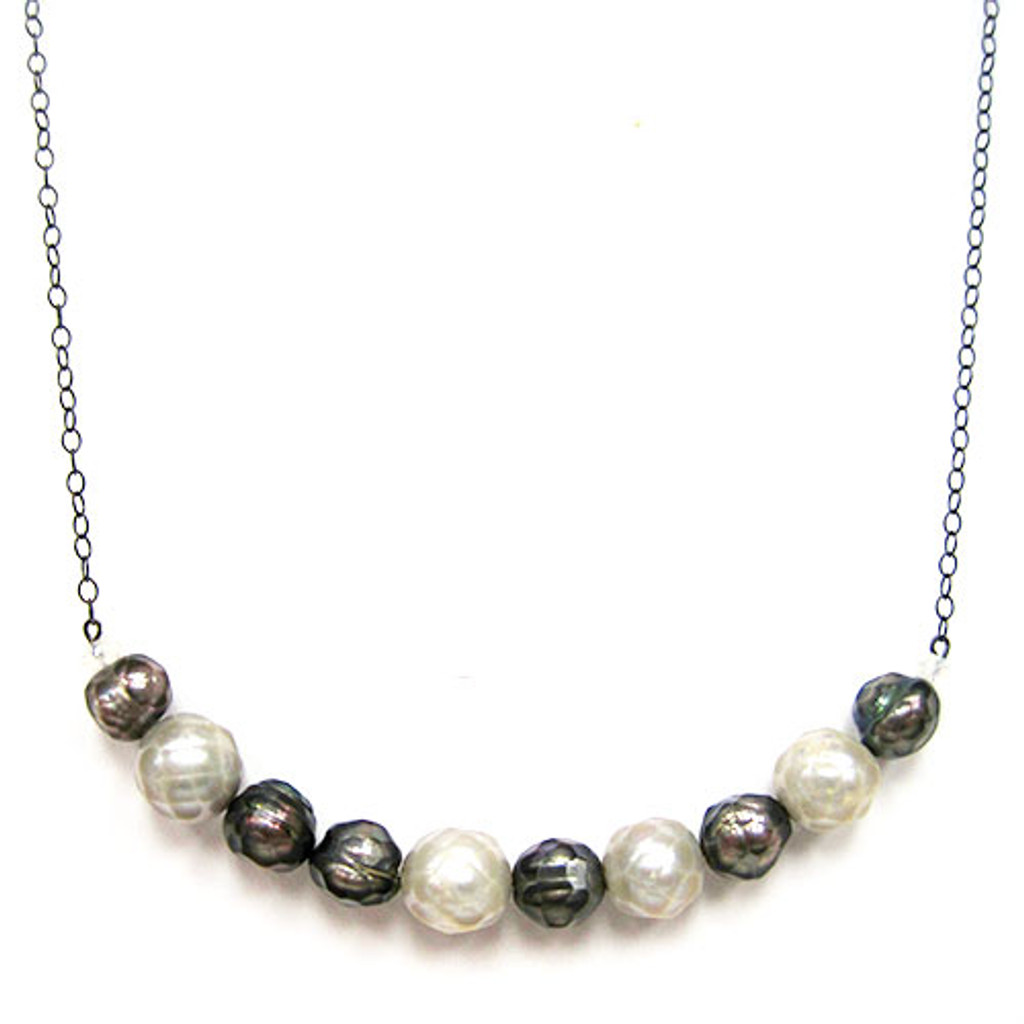 Chunky Gray and White Freshwater Pearl Bar