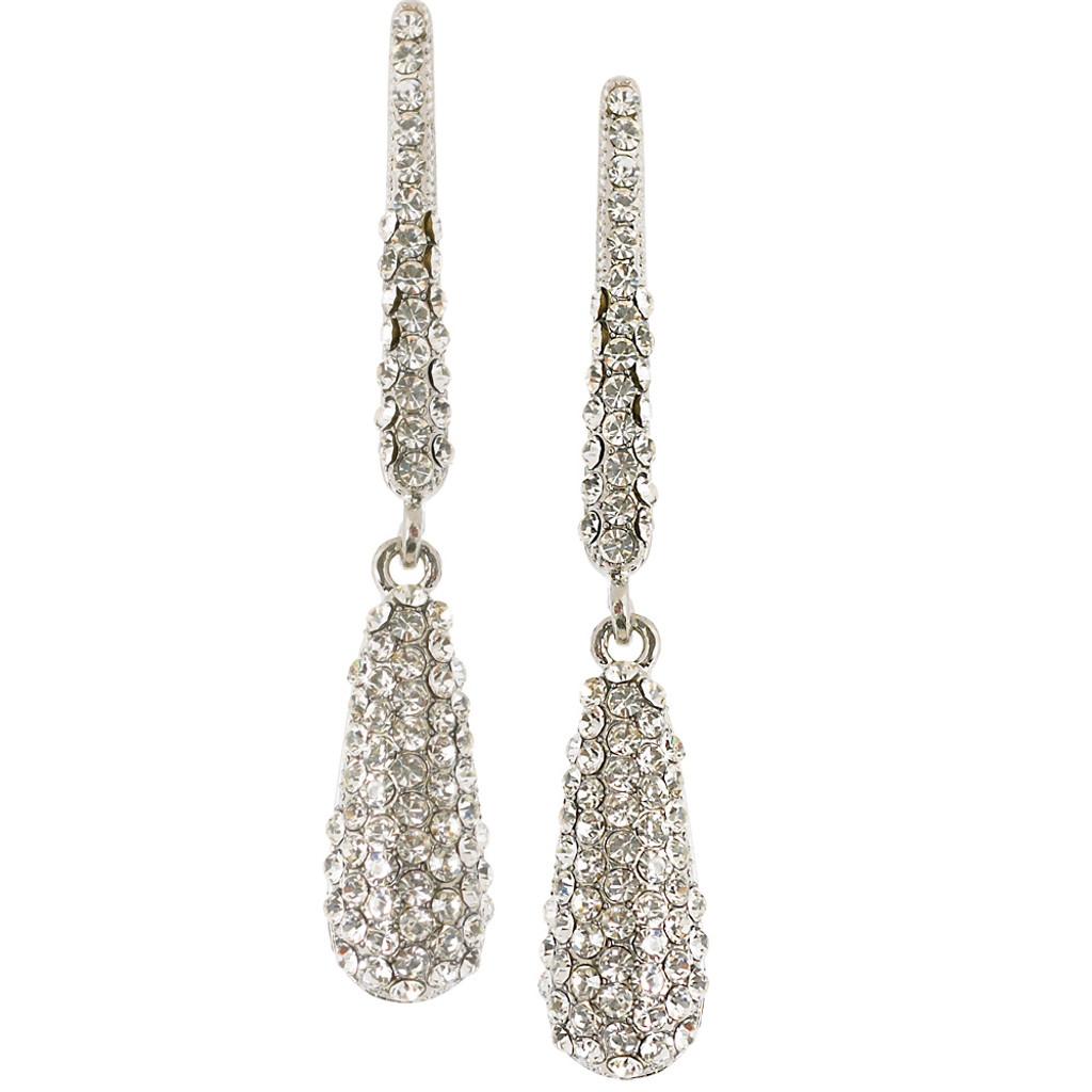 Bar and Clear Pave Teardrop