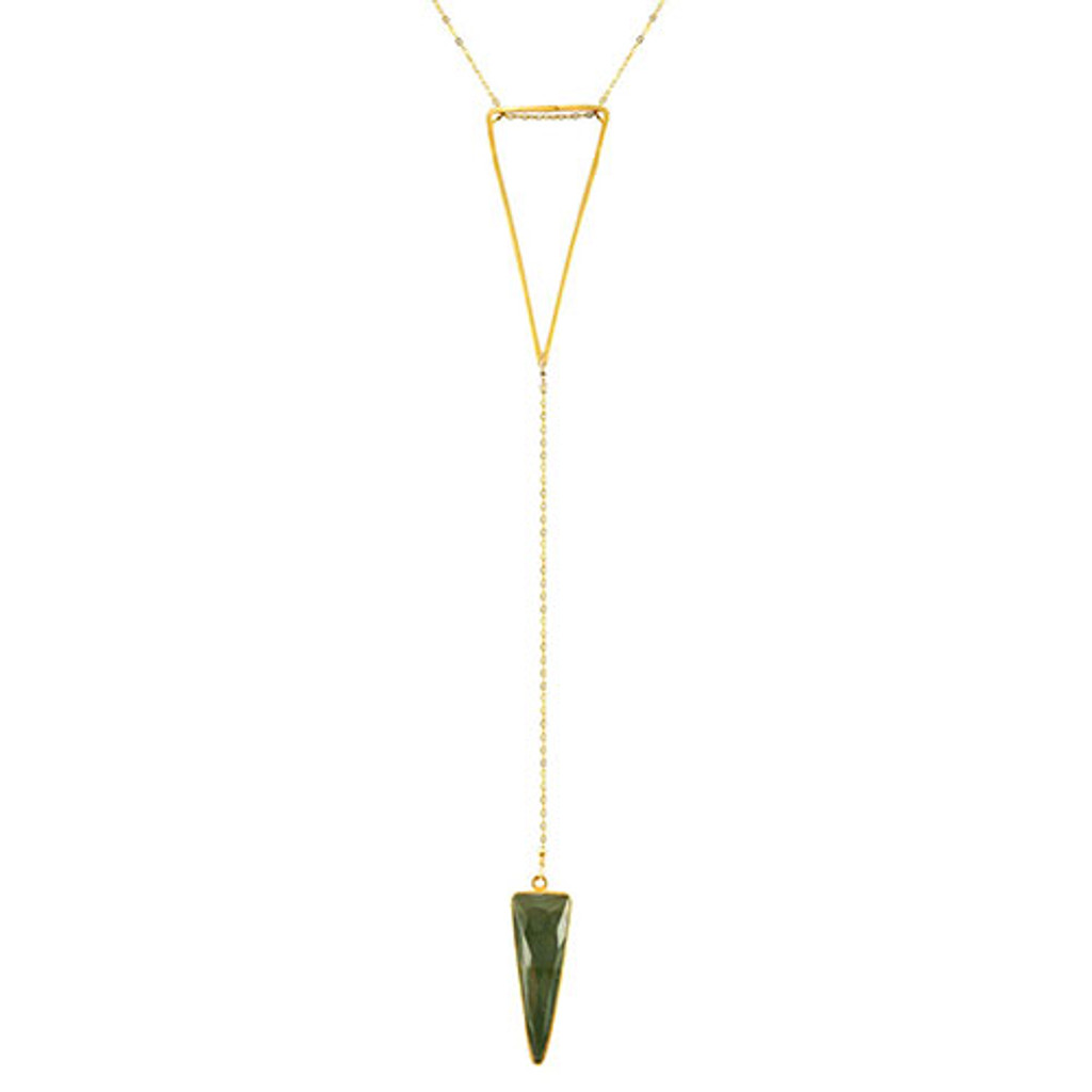 Charlene K's Genuine Labradorite Triangle Drop Long Necklace