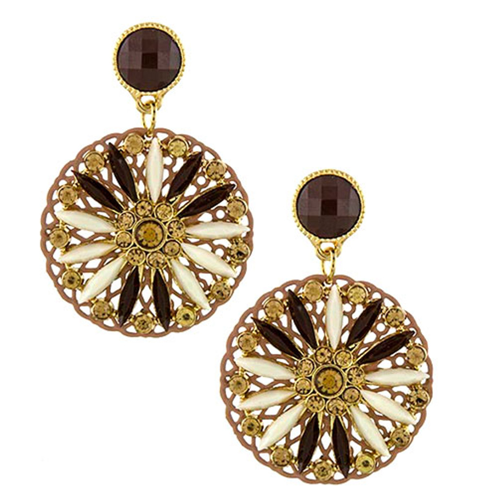 Brown Kaleidoscope Disk Earrings