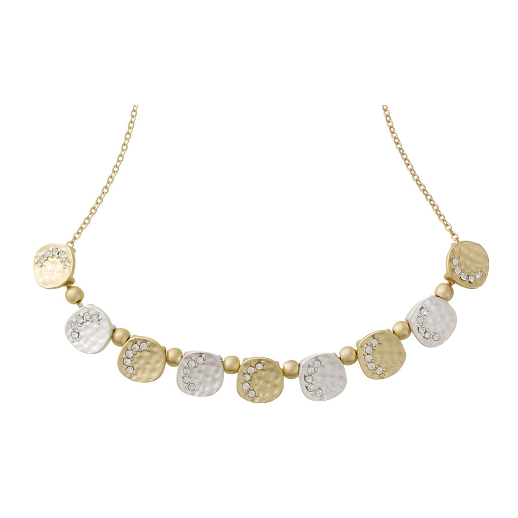 Matte Gold and Matte Silver Nugget Necklace