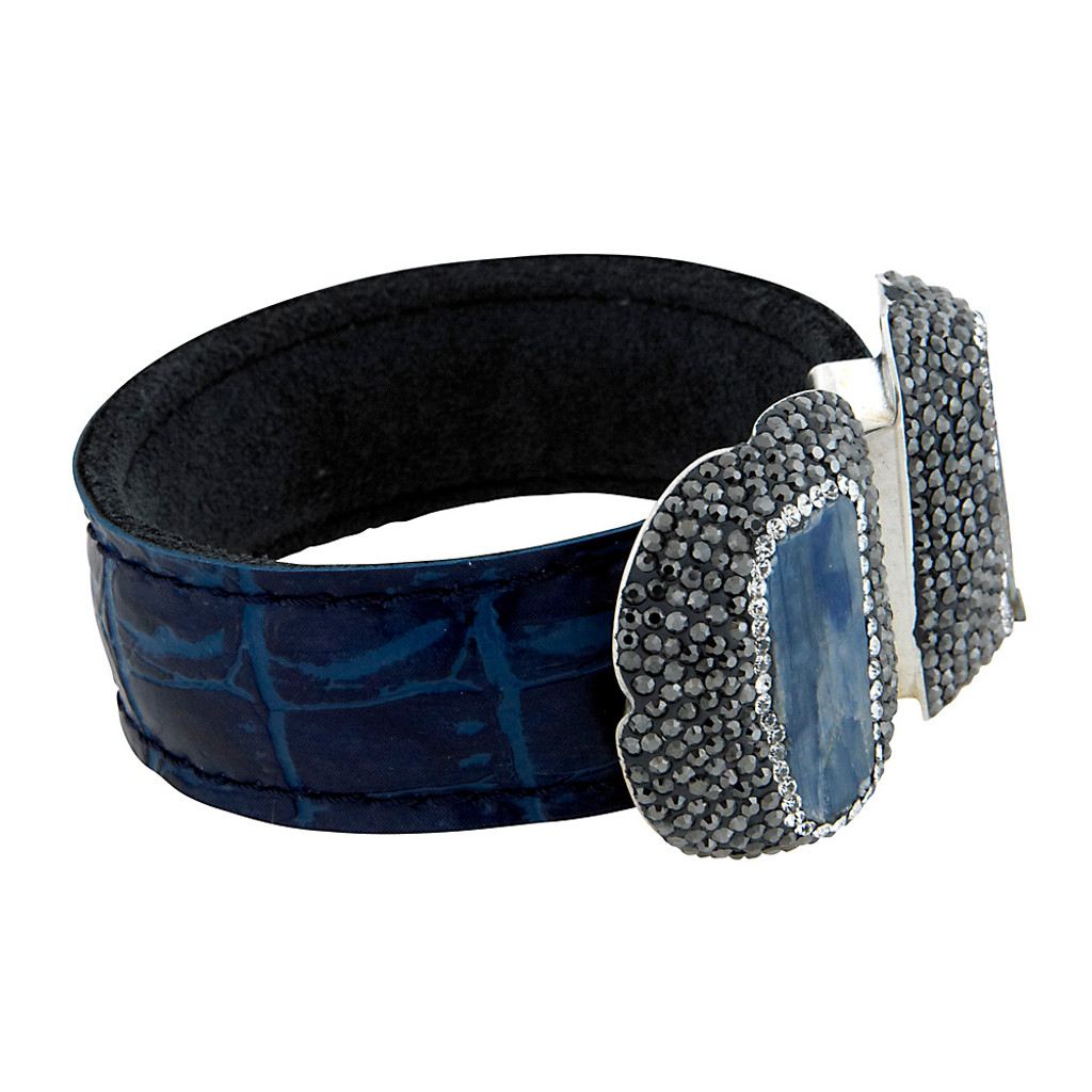 Double Sodalite Stone Leather Open Cuff