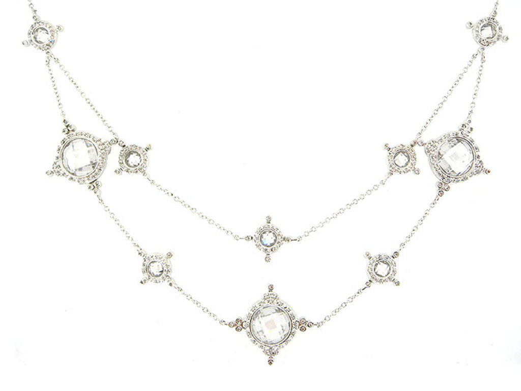 Freida Rothman's Sterling Silver Draped Crystal Necklace
