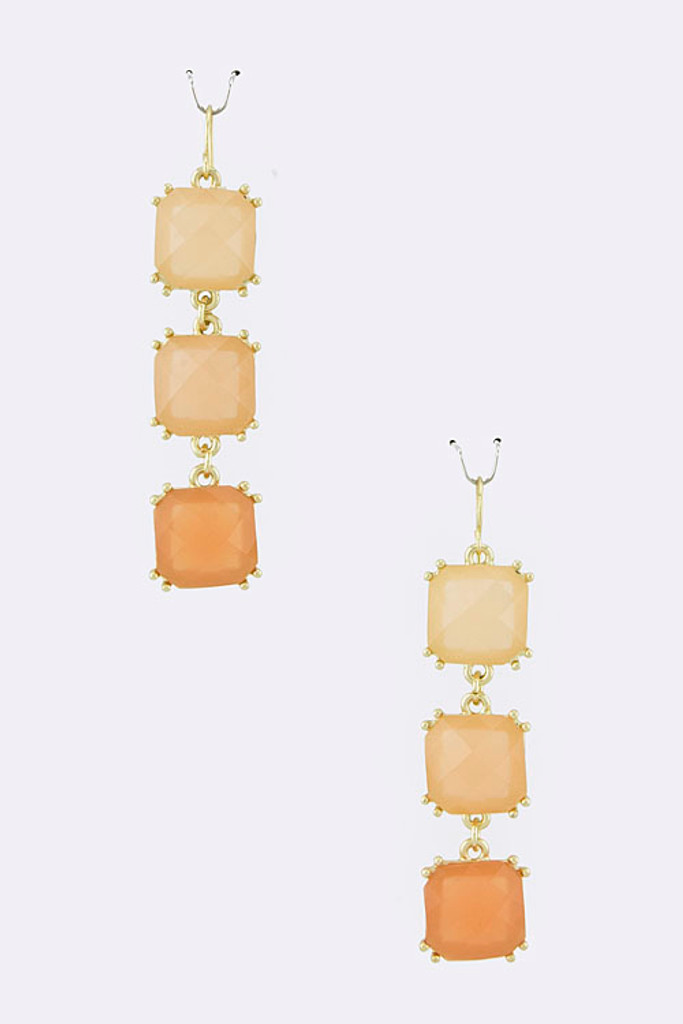 Three Linked Peach Squares Earring