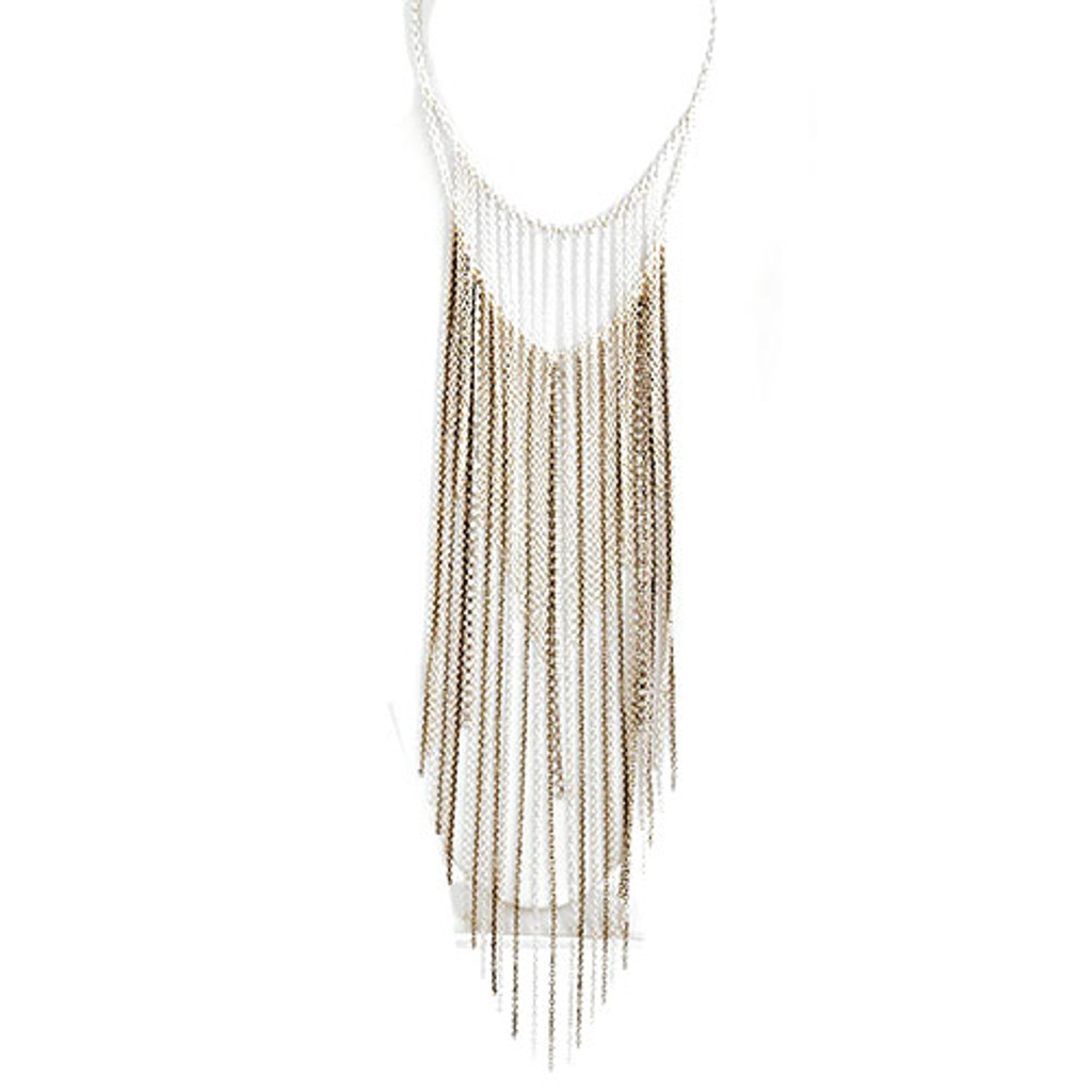 Ombre Faded Long Fringe Necklace Silver
