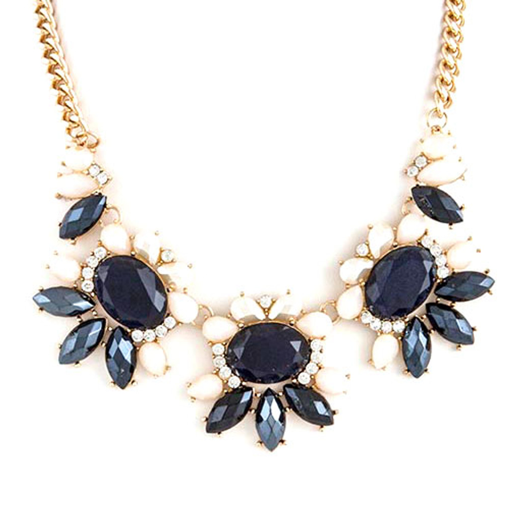 Navy Blossom Trio Necklace
