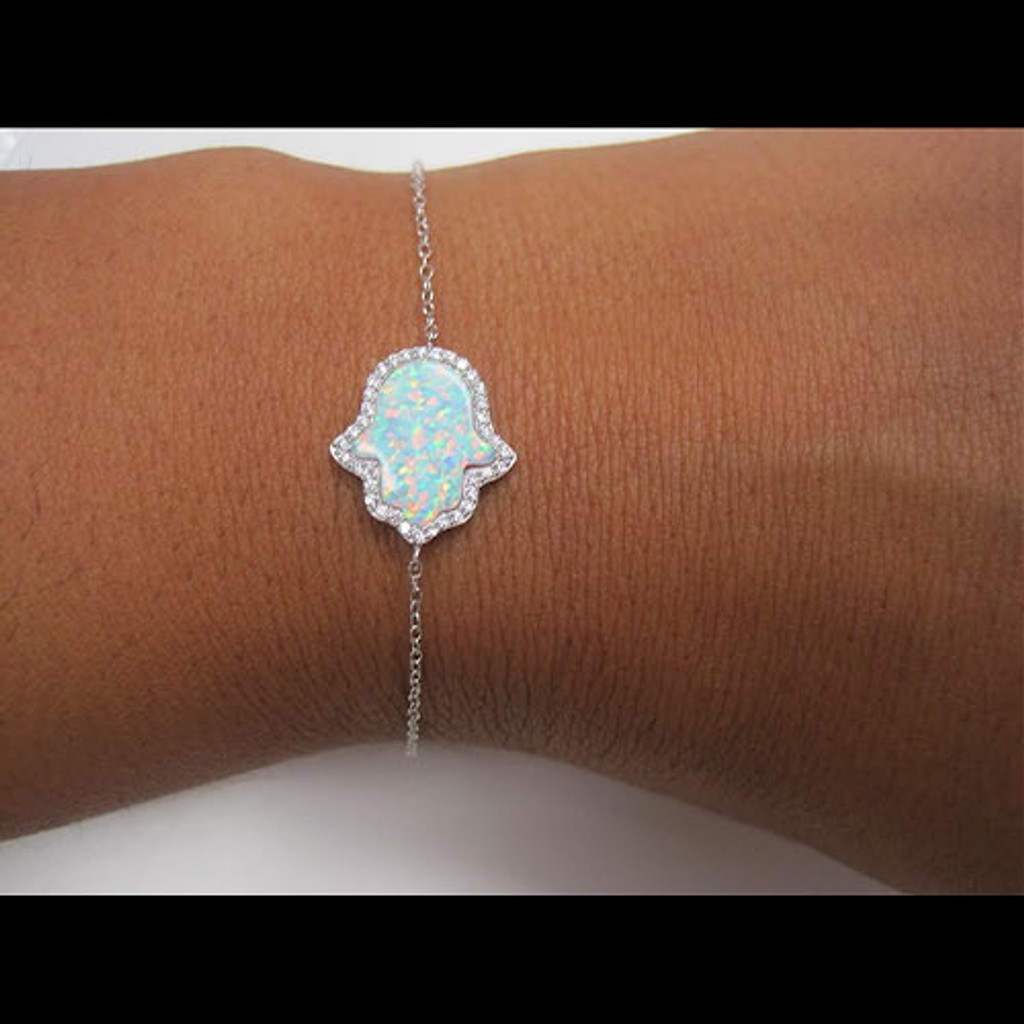 White Opal Hamsa With C.Z. Bracelet