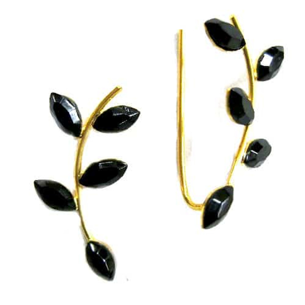 Black Crystal Branch Ear Cuff