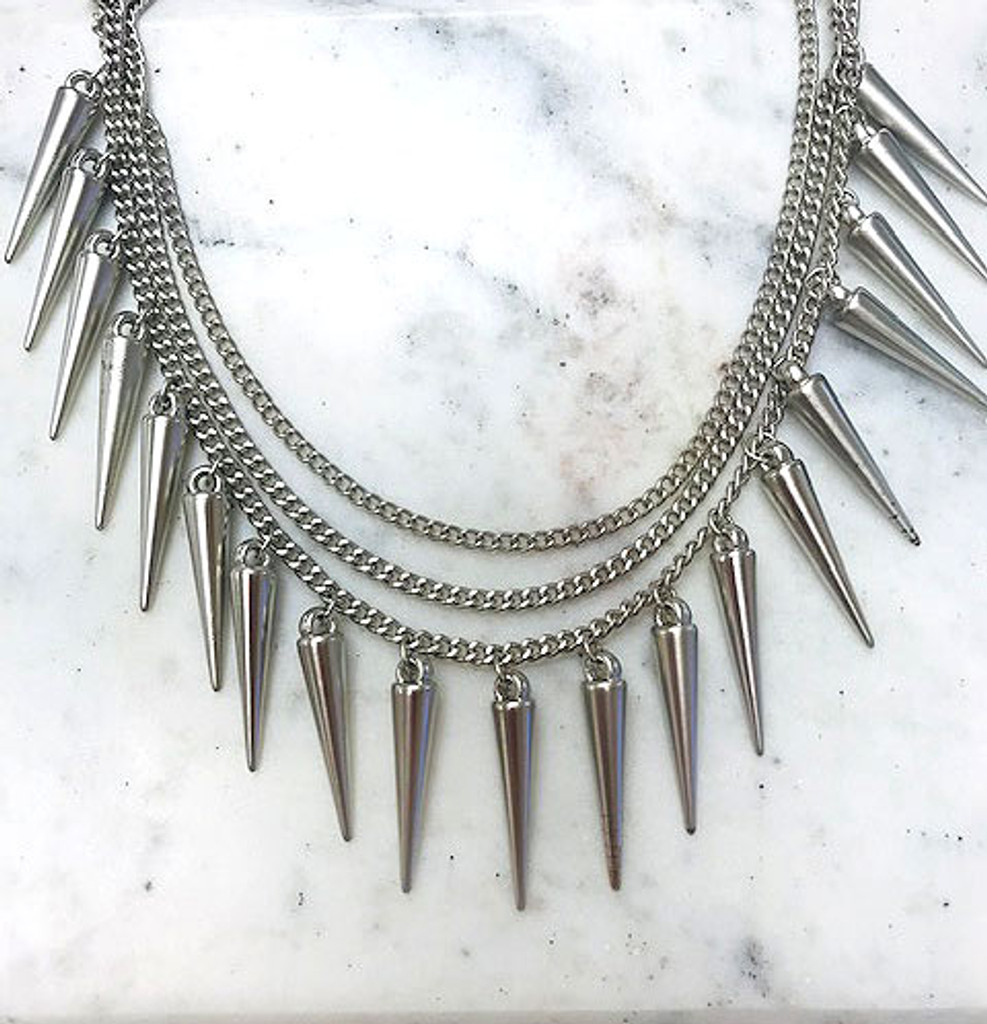 Matte Silver Sugar and Spikes Necklace