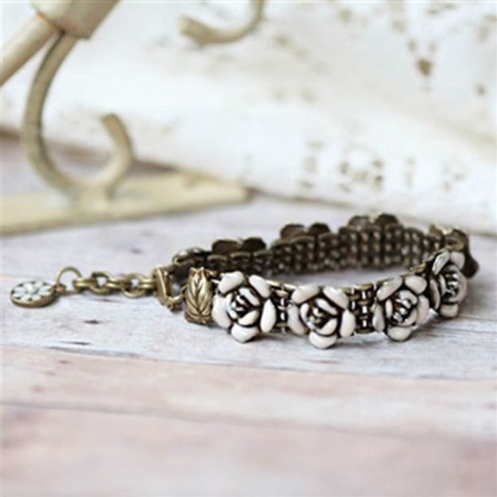 Antiqued French Rose Bracelet