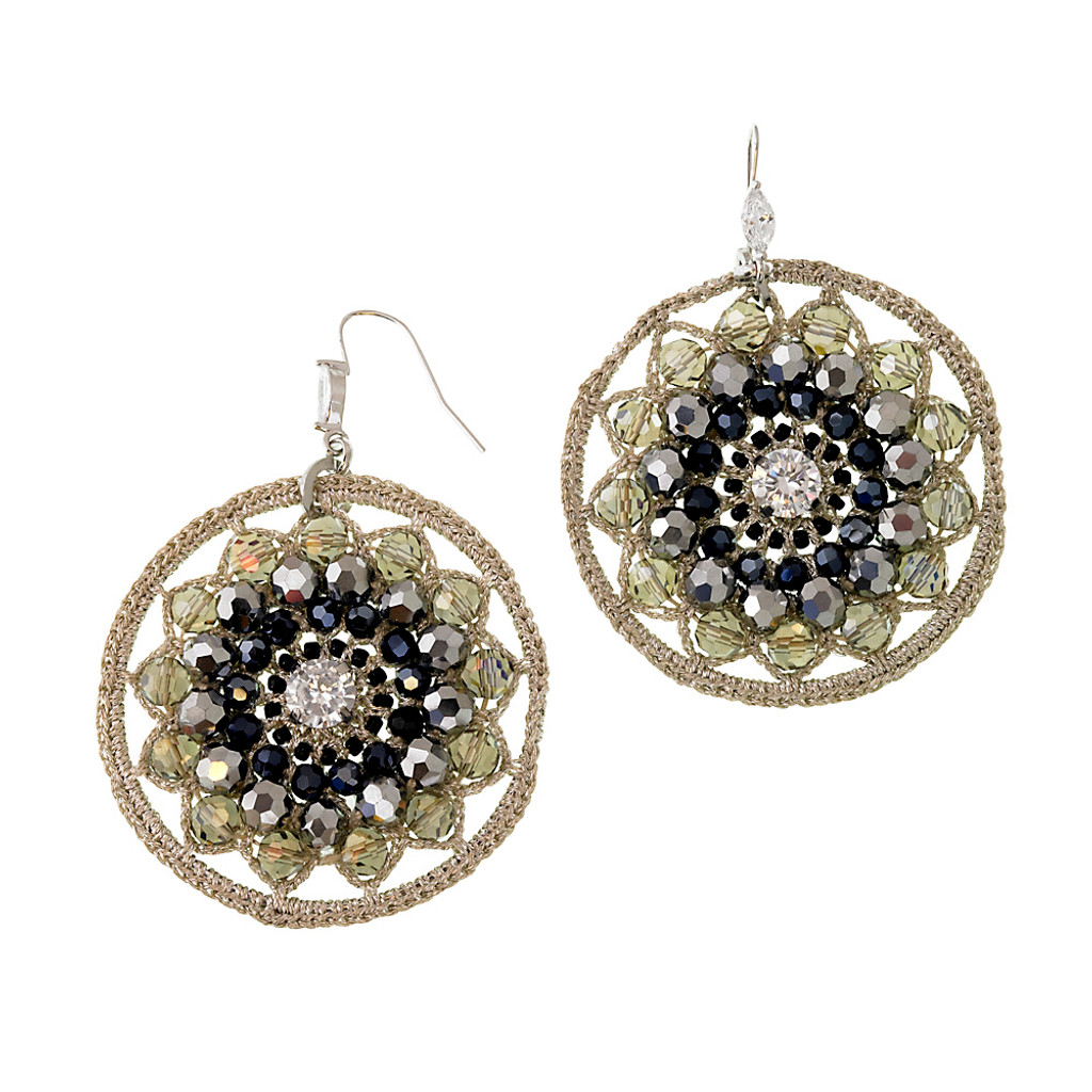 Crocheted Medallion Earrings