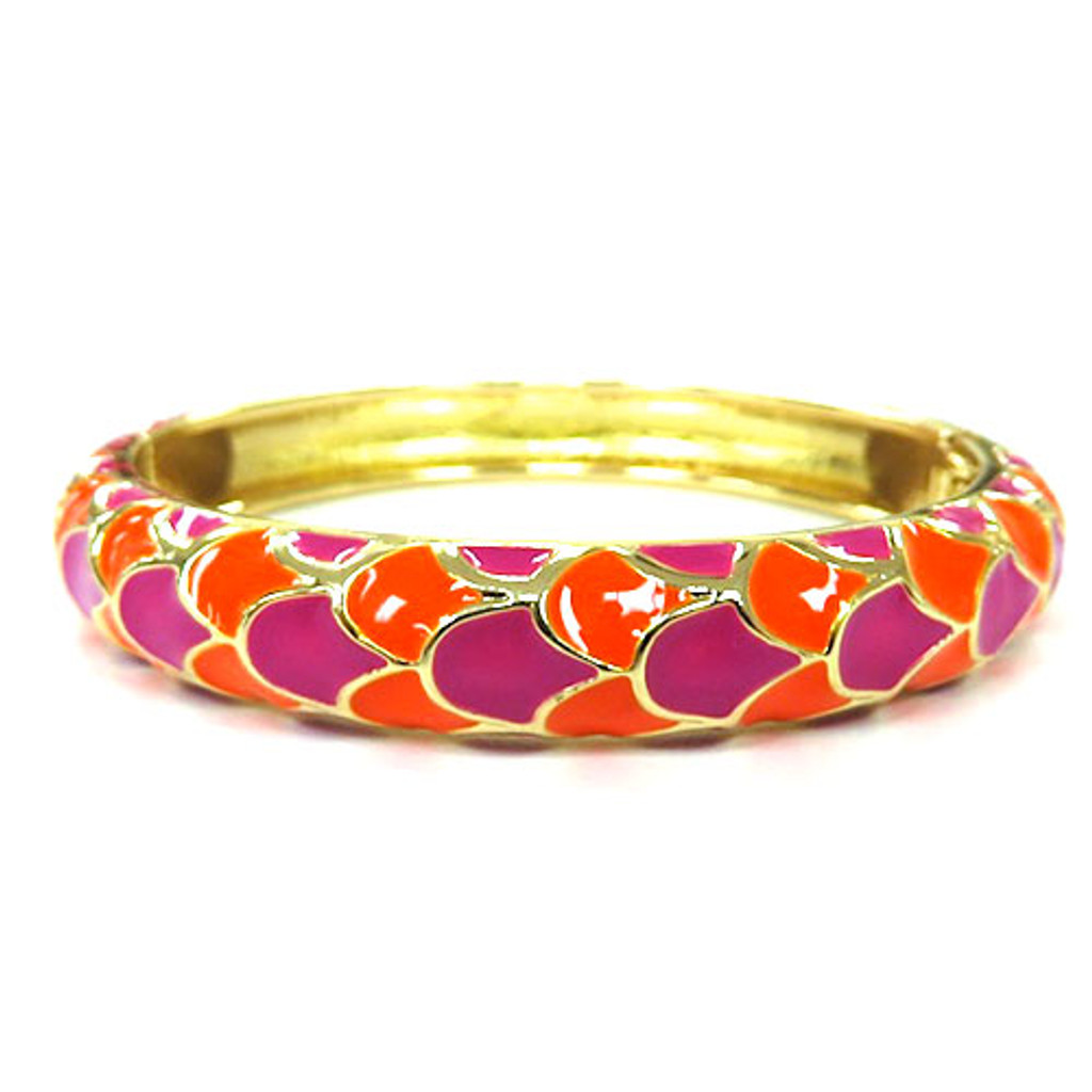 Enamel Orange and Pink Scales Bangle