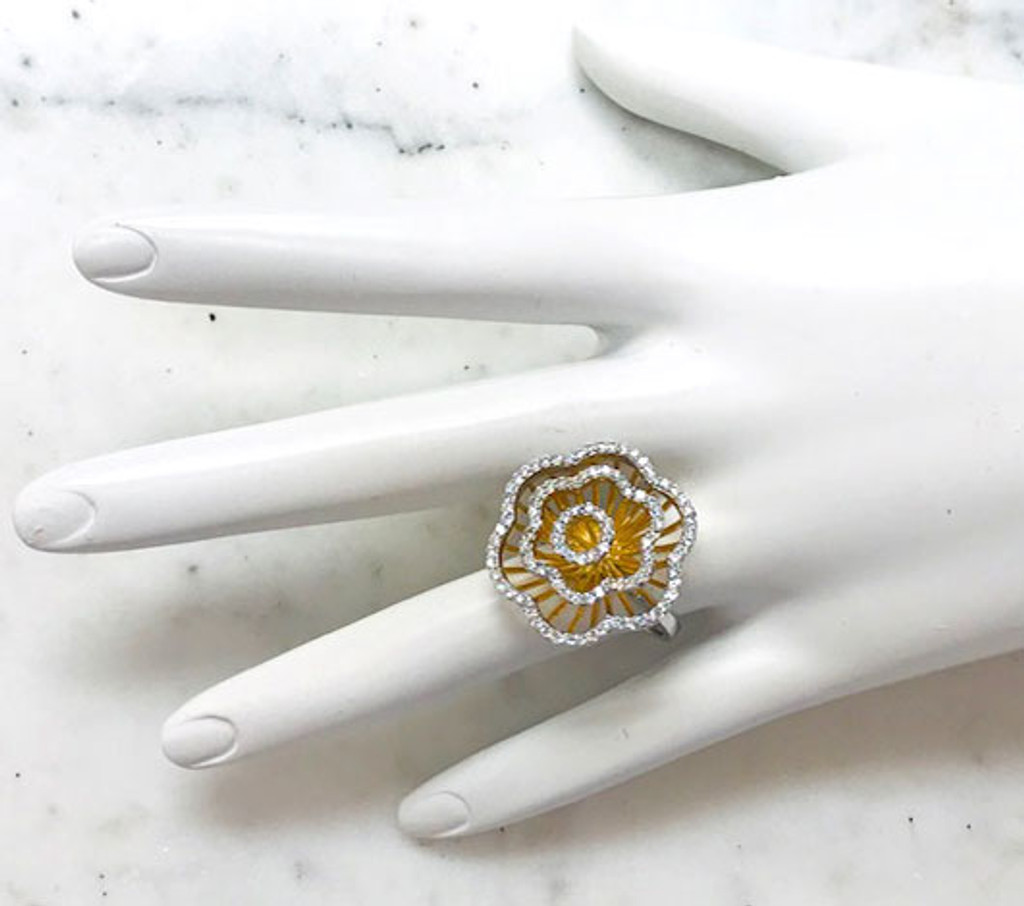 Two-Tone Blooming Rose Ring