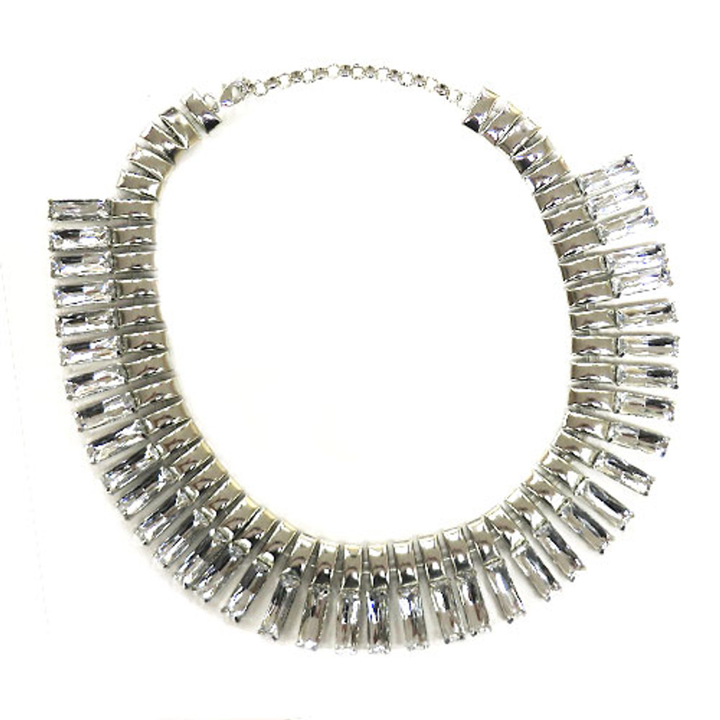 Silver and Crystal Inca Collar