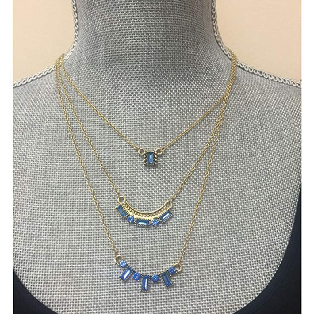 Meridian Blue Crystal BaguetteTriple Layer Necklace