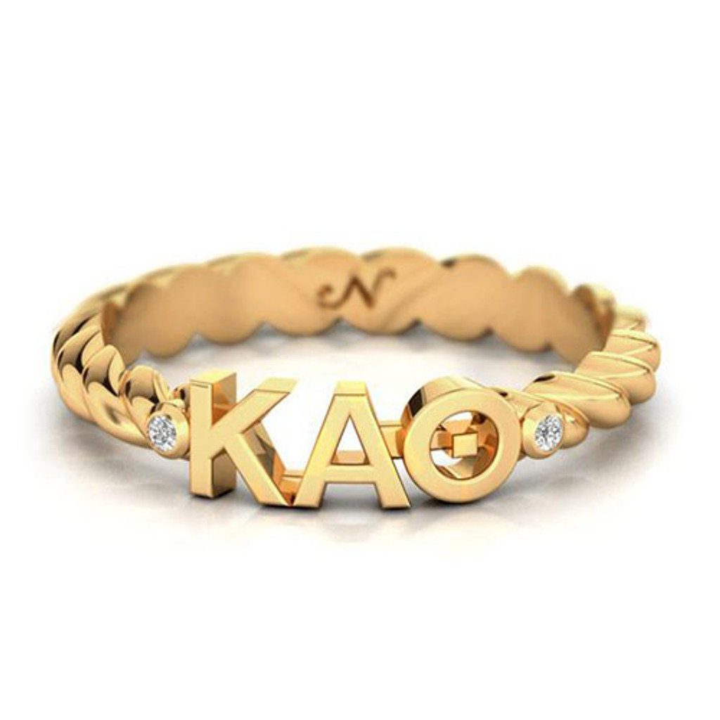 Kappa Alpha Theta Gold Pavå© Twist Letter Ring