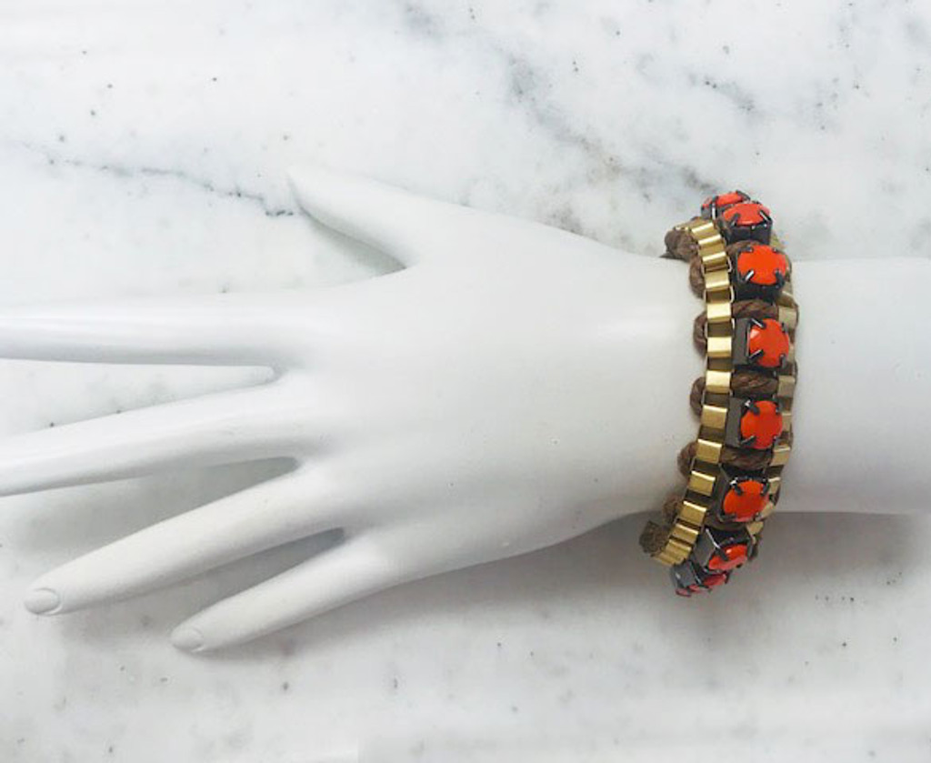 Gold Links With Orange Stones Bracelet
